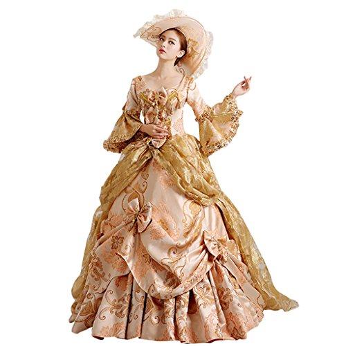 1791's lady Women's Victorian Rococo Dress Medieval Renaissance Regency Costume (L) White]()