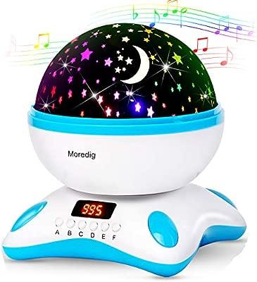 Lámpara de Proyector Estrellas, Lámpara de Noche 360 Grados Rotación,Proyector 4 LEDs 8 modos de luz, 2 fuentes de alimentación regalo para niños ...