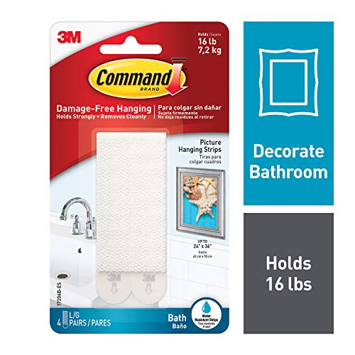 (Command Bath Picture Hanging Strips, Large, White, 4-Water Resistant Strips)