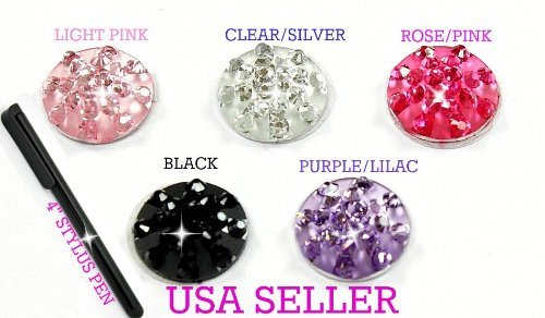 Apple Iphone 3g Crystal - Set of 5 Rhinestone Bling Crystal Home Buttons BLACK PINK ROSE PURPLE SILVER Plus Free Stylus 4