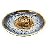 TrendBox Enlarged Size Ceramic Handmade Artistic Incense Holder Burner Stick Coil Lotus Ash Catcher Buddhist Water Lily Plate - Three Holes Transmutation Glaze