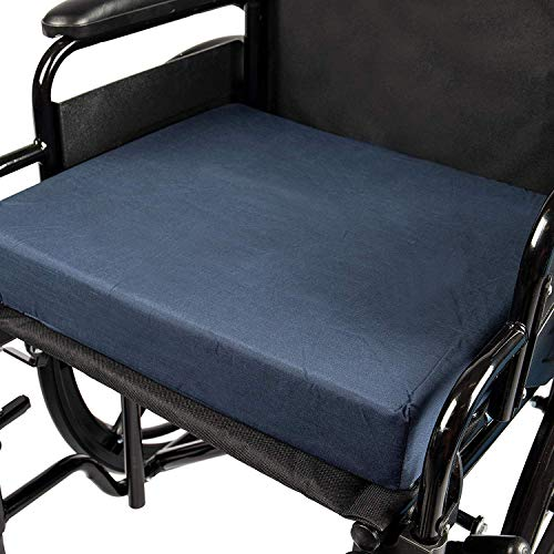- DMI Seat Cushion for Wheelchairs, Mobility Scooters, Office and Kitchen Chairs or Car Seats to Add Support and Comfort while Reducing Pressure and Stress on Back, 3 inches thick, 16 x 18, Navy Blue