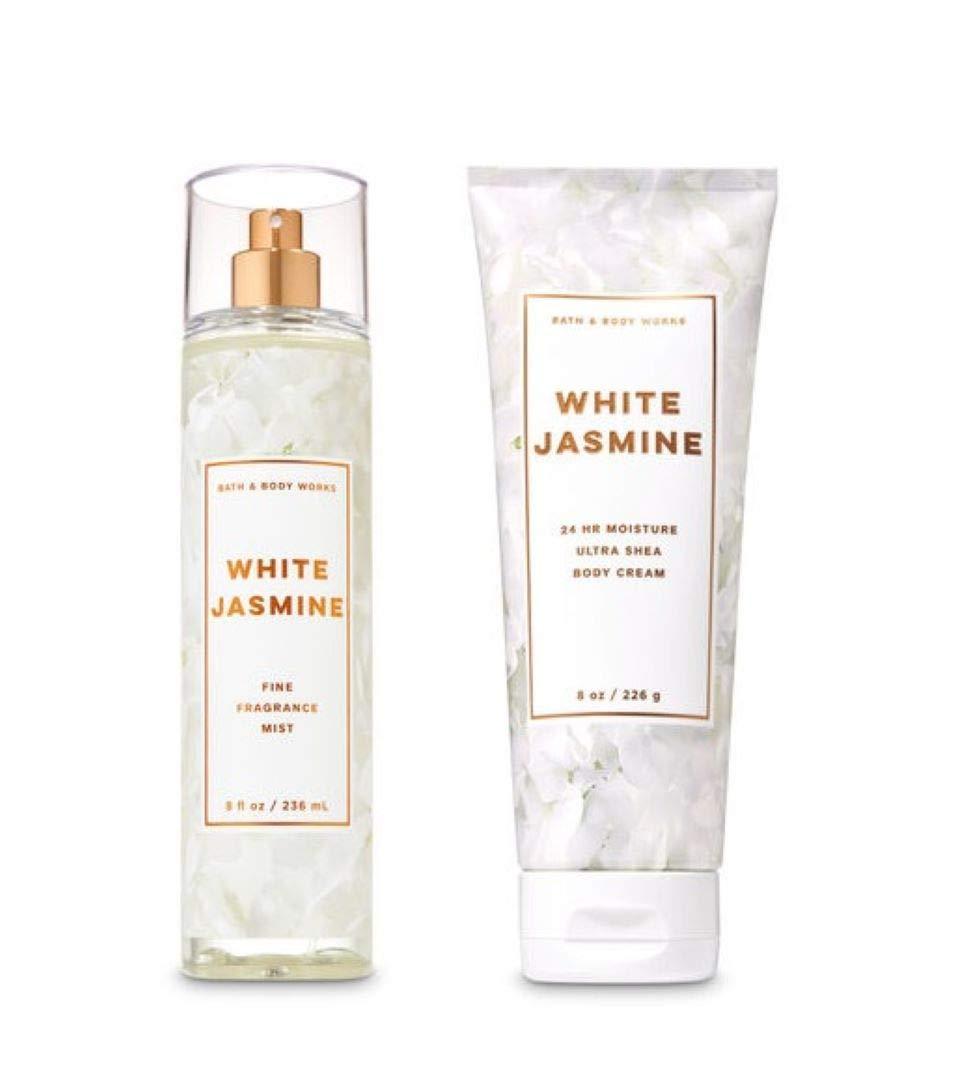 Bath and Body Works - White Jasmine - Fine Fragrance Mist and Ultra Shea Body Cream - Full Size