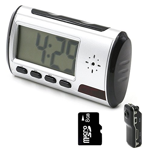 Mini Camera, YYCAMUS Alarm Clock Nanny Cam [with One More Mini DV and 8GB Micro SD Card]