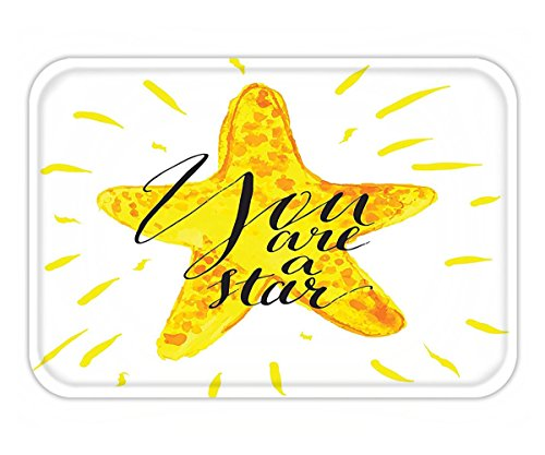Minicoso Doormat Quote Decor Catoon Star with You are a Star Lettering with Lines Show Sparkle Image Black White - Of Me Show Predator The Pictures