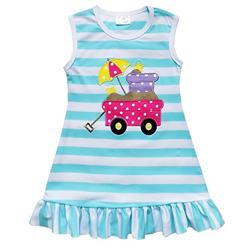 So Sydney Girls Toddler Baby Infant Summer Dress or Ruffle Baby Bubble Romper (XL (6), Beach Wagon Blue Stripe) -