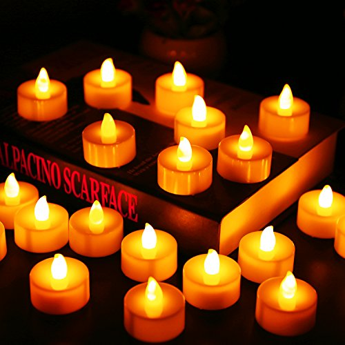 Flameless Candles, LED Tea Light Candles With Battery-Powered wedding Candles Decorations For Parties Events Tealight Candles (24 Pack)]()