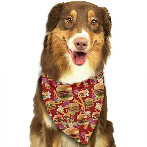 TLDRZD Dog Bandana Christmas Costume Pet Hamburgers French Fries Red Scarf Cat Bandana for Christmas