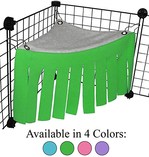 Corner Fleece Forest Hideout for Guinea Pigs, Ferrets, Chinchillas, Hedgehogs, Dwarf Rabbits and Other Small Pets – Accessories and Toys (Green/Gray)