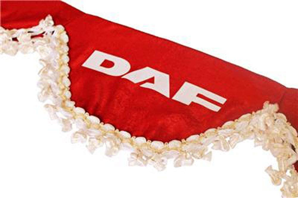 AutoCommerse Front windscreen curtain pelmet satin with white tassels sun visor panel curtains waveform for 105 106 95 CF XF Fa FT LF series trucks HGV lorry RED