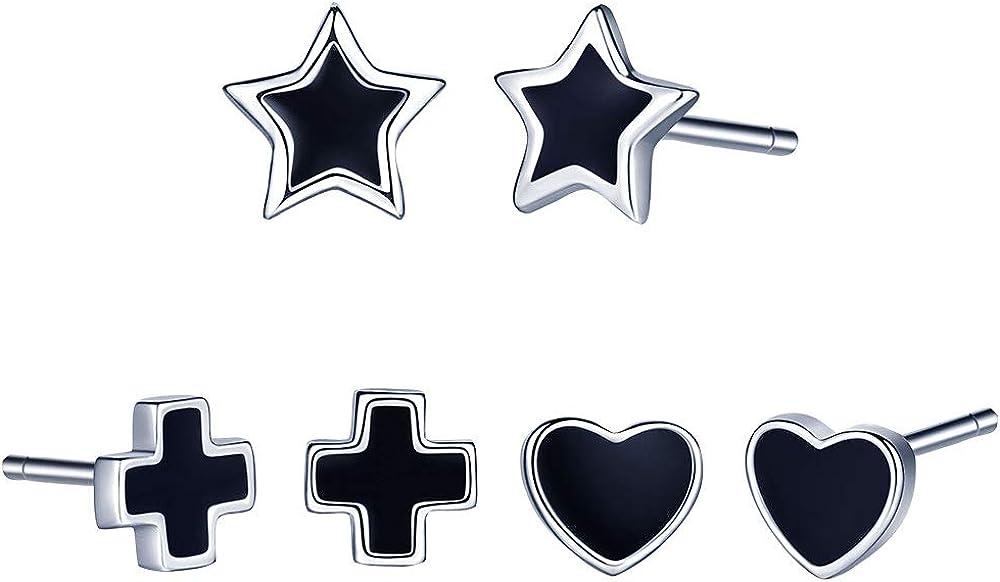 Yumilok-Juego de 3 Pares de Pendientes de Plata 925 para Mujeres Chicas, Pendientes de ágata Negra Forma en Estrellas Corazón y Cruz,Regalo de Aniversario/Navidad (3 pares)