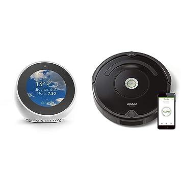 Echo Spot blanco + iRobot Roomba 671 - Robot aspirador suelos duros ...