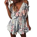 Women Summer Cold Shoulder Short Sleeve Floral Jumpsuit Evening Party Beach Mini Romper (M, Mint Green)