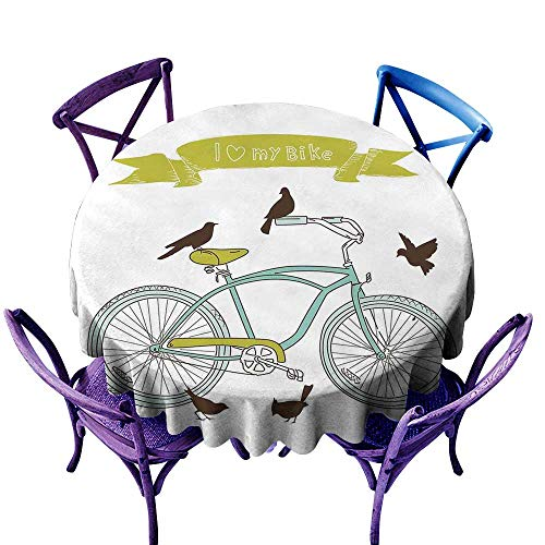 (ScottDecor Bicycle Tablecloth for Party I Love My Bike Concept with Birds on The Seat Cruisers Basic Vehicle Simplistic Art Green Blue Jacquard Tablecloth D 70