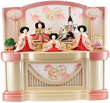 雛人形収納飾り パール白木 雪輪に刺繍桜 【W65cm×D43cm×H60cm】