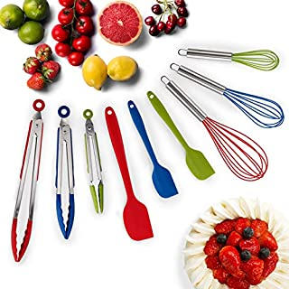HOT TARGET Set of 9-3 Heavy Duty, Non-Stick, Silicone Tongs (12, 9, 7 inches) Plus Bonus 3 Silicone Whisks (11,10,8 inches) and 3 Silicone Spatulas (11,8,8 inches) (Multicolor)