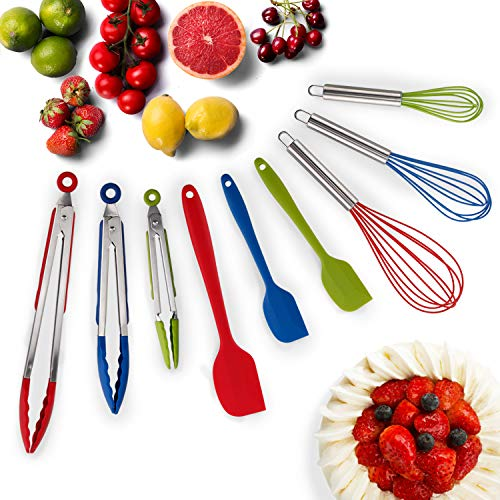 HOT TARGET Set of 9-3 Heavy Duty, Non- Stick, Silicone Tongs (12
