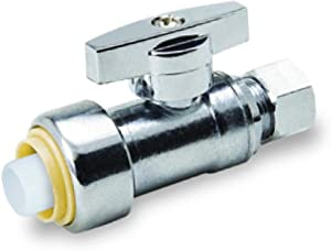 Pushlock UPSSC1214 1/4 Turn Straight Stop Valve Water Shut Off 1/2 Push x 1/4 Inch Compression, Chrome