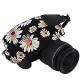 DSLR / SLR Camera Neck Shoulder Belt Strap - Wolven Cotton Canvas DSLR/SLR Camera Neck Shoulder Belt Strap for Nikon Canon Samsung Pentax Sony Olympus or Other Cameras - Black White Flower Floral