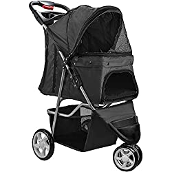 Paws & Pals Double Dog Stroller - Pet Strollers for Small Medium Dogs Cats Two Doggy Puppy or 2 Kitty Cat Carriage Buggy - Fold-able Animal Pets Doggie Cart Carriages
