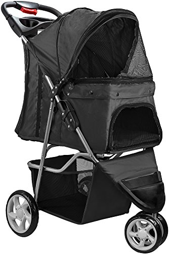 Paws & Pals 3 Wheeler Elite Jogger Pet Stroller Cat/Dog Easy Walk Folding Travel Carrier, Onyx ()
