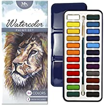 MozArt Supplies Watercolor Paint Essential Set - 24 Vibrant Colors - Lightweight and Portable - Perfect for Budding hobbyists and Professional Artists - Paintbrush Included