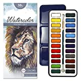 MozArt Supplies Watercolor Paint Set - 24 Vibrant Colors - Lightweight and Portable - Perfect for Budding hobbyists and Professionals - Paintbrush Included