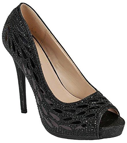 Women Black Open Toe Feather Sparkle Crystal Pearl Rhinestone Glitter Formal Evening High Heel Dress (Evening Sparkle)