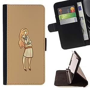 Momo Phone Case / Flip Funda de Cuero Case Cover - Minimalista Señora;;;;;;;; - Samsung Galaxy Note 5 5th N9200