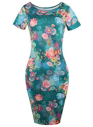 HELYO Floral Print Dress Women's Elegant Casual Party Slim Bodycon Office Dresses 223(L, Green)