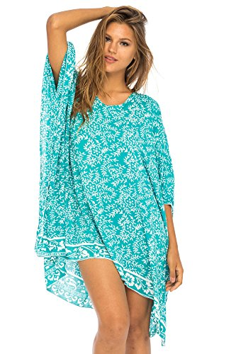 - Back From Bali Womens Beach Swimsuit Cover up Dress Caftan Floral Short Poncho Bun Tosca Green