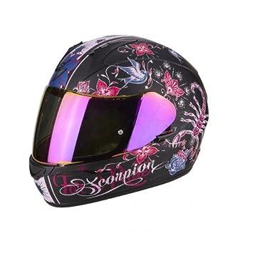 Scorpion Casco de moto Exo 390 Chica, negro y rosa, talla XS