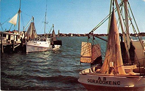 Ocracoke Island North Carolina shrimp boats at anchor vintage pc Y7382