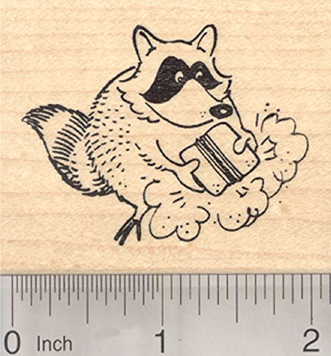 Raccoon with School Erasers Rubber Stamp, Chalkboard