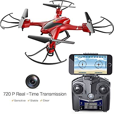 Holy Stone HS200W FPV RC Drone with HD Wifi Camera Live Feed 2.4GHz 4CH 6-Axis Gyro Quadcopter with Altitude Hold, Gravity Sensor and Headless Mode RTF Helicopter by Holy Stone