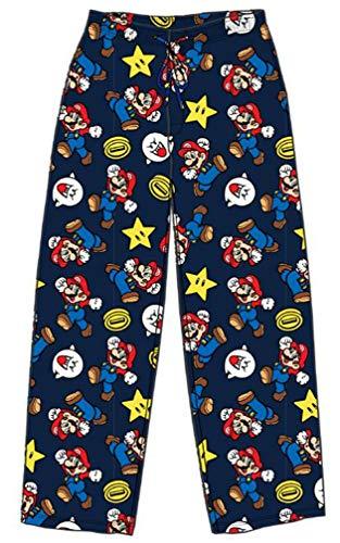(Nintendo Mens Super Mario Lounge Pajama Pants Sleepwear (Allover Navy, Medium))