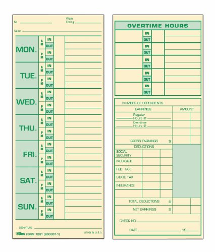 Weekly Employee Time Card - TOPS Time Cards, Weekly, 2-Sided, 3-1/2
