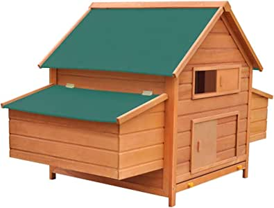 vidaXL Chicken Coop Wood 157x97x110cm Hen Cage Chook House Rabbit Hutch Nest