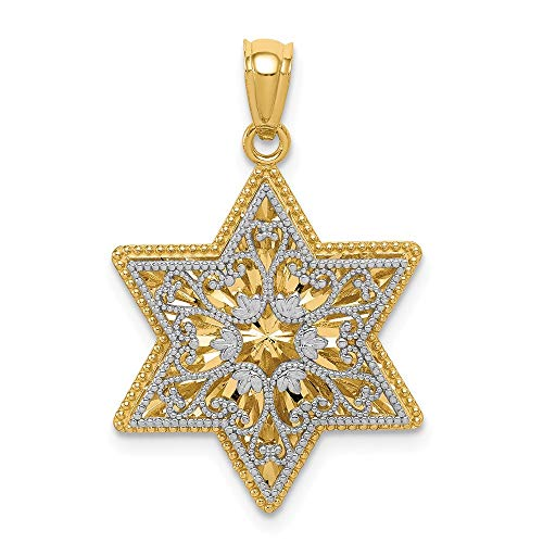 14k Two Tone Yellow Gold Reversible Filigree Jewish Jewelry Star Of David Pendant Charm Necklace Religious Judaica Fine Jewelry Gifts For Women For Her