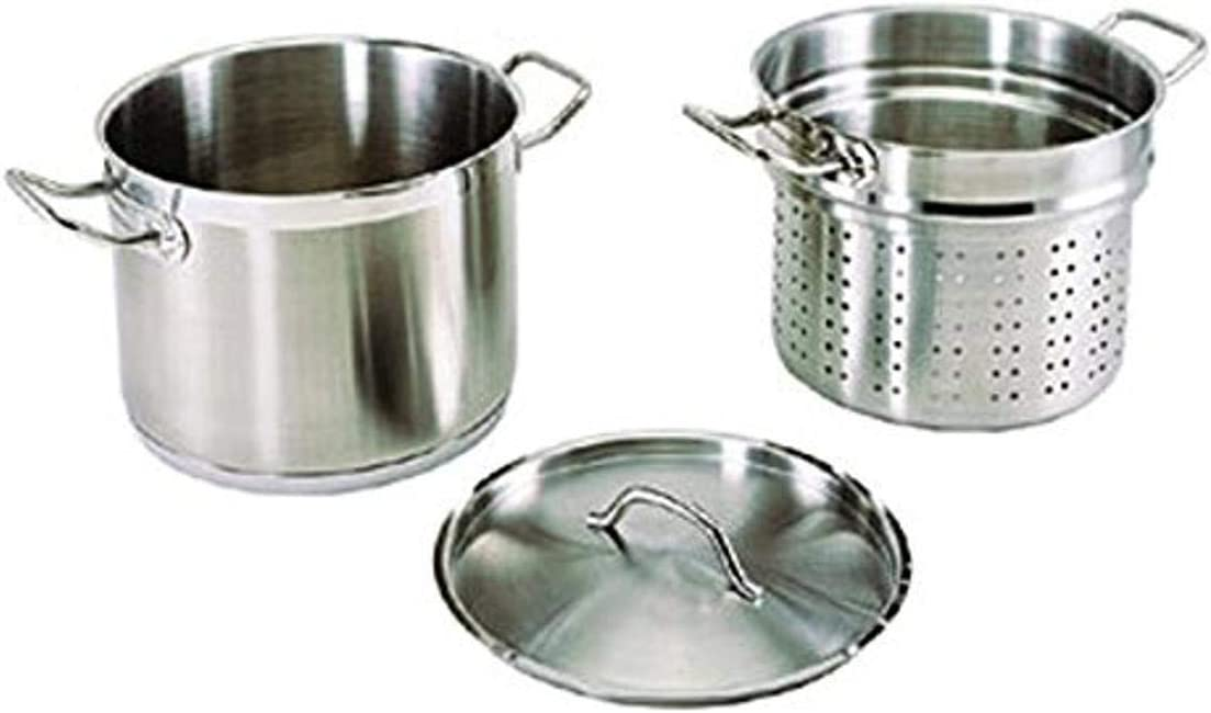 Update International (SPSA-12) 12 Qt Induction Ready Stainless Steel Pasta Cooker w/Cover, Strainer