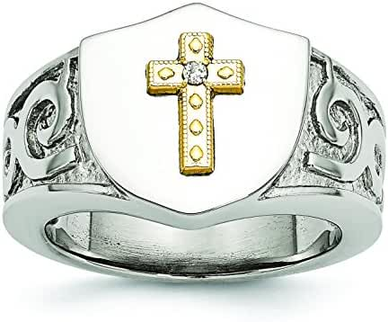 Stainless Steel with 10K Gold Cross and .02ct Diamond Polished Ring