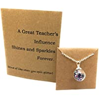Teacher's Gift Set. Teacher Necklace Glitter in Glass and Thank you Card. Gift Boxed by Dorinta