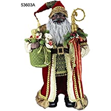 """36"""" Inch Standing Grand African American Black Ethnic Santa Claus Christmas Figurine Figure Decoration 53603A"""