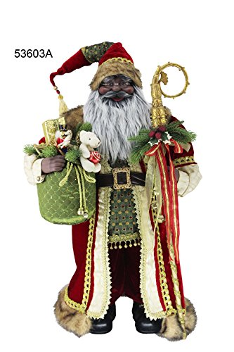 36'' Inch Standing Grand African American Black Ethnic Santa Claus Christmas Figurine Figure Decoration 53603A by Windy Hill Collection