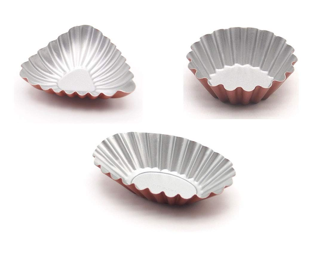 Somine Tart Mold(Set of 12) Round/Triangle/Oval-Shaped Pies Tartlet Pan Reusable Anodized Aluminium Small Desserts Brioche Cup, Color: Champagne and Silver Deyao International Ltd