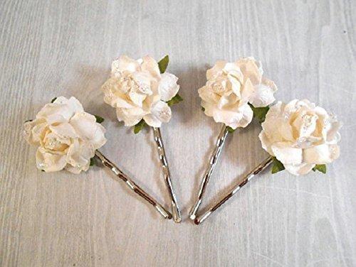 Amazon Com Antique White Rose Bobby Pins Bridal Hair Flower Hair