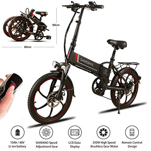 "SAMEBIKE 20"" Aluminum Pro Smart Folding Portable Electric Bike 7 Speed Gear E-Bike,48V 10AH Lithium Battery,350W High speed brushless gear motor,USB 2.0 Charging Port,25lbs,Electric Bicycle for Adults"