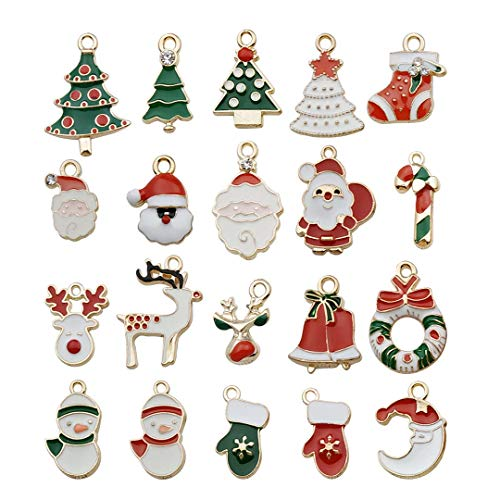 Youdiyla 40 PCS Colors Enamel Christmas Charms Collection, Mix Santa Claus Trees Reindeer Deer Snowman Bells Stocking Socks Metal Charms Pendant Supplies Findings for Jewelry Making (HM45)