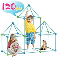 KITEOAGE Construction Fort Building Kits for Kids Play Tents Toys for Girls Boys DIY Builder Toy Indoor Outdoo
