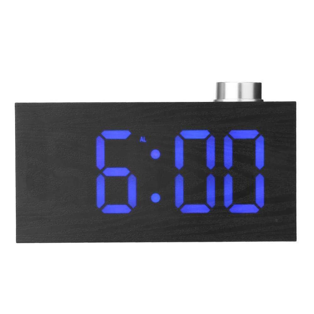 Digital Alarm Clock, YiMiky Temperature LED Display Wood Grain Clock 3 Levels Brightness Electronic Alarm Clock Snooze Battery Backup Wood Digital Clock for Bedroom Office - Blue